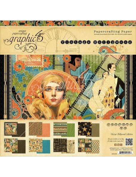 "Graphic 45 Paper Pad Cardstock de doble cara 12""X12"" 24, Vintage Hollywood, 8 Dibujos/3"