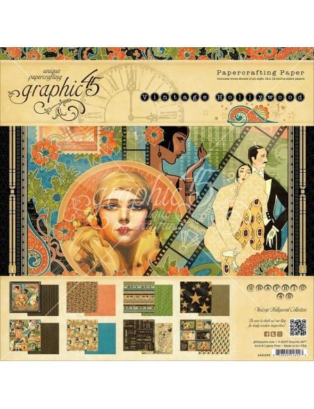"""Graphic 45 - Paper Pad de doble cara 12""""X12"""" 24, Vintage Hollywood, 8 Dibujos 3 de cada"""
