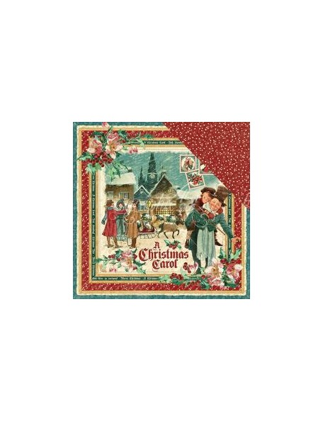 """Graphic 45 - A Christmas Carol Cardstock de doble cara 12""""X12"""", Christmas Carol"""