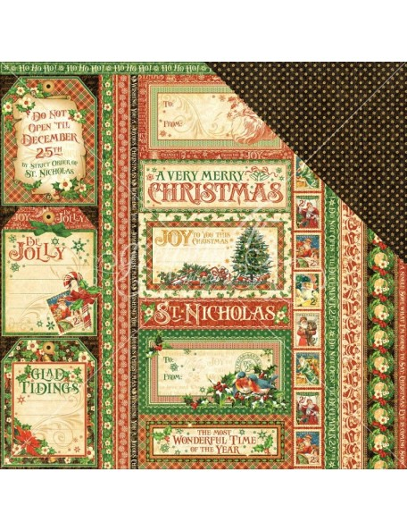 "Graphic 45 St Nicholas Cardstock de doble cara 12""X12"", Season's Greetings"