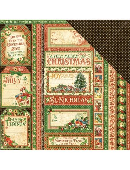 "Graphic 45 St Nicholas Cardstock de doble cara 12""X12"", Season's Greetings"
