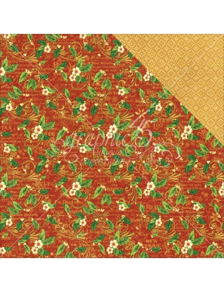"Graphic 45 St Nicholas Cardstock de doble cara 12""X12"", Holly Daze"