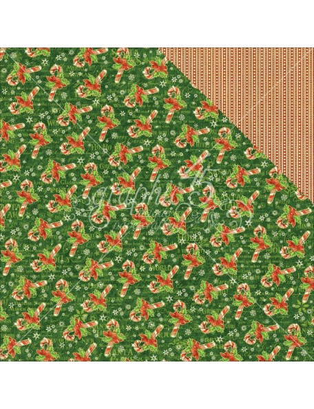 "Graphic 45 St Nicholas Cardstock de doble cara 12""X12"", Candy Cane Wishes"