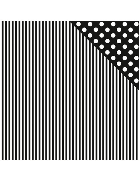 "Kaisercraft - Back To Basics Cardstock de doble cara 12""X12"", Black Stripe"
