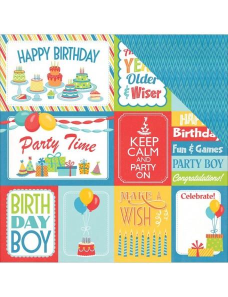 """Photo Play Party Boy Cardstock de doble cara 12""""X12"""", 3x4, 4x6 Cards"""