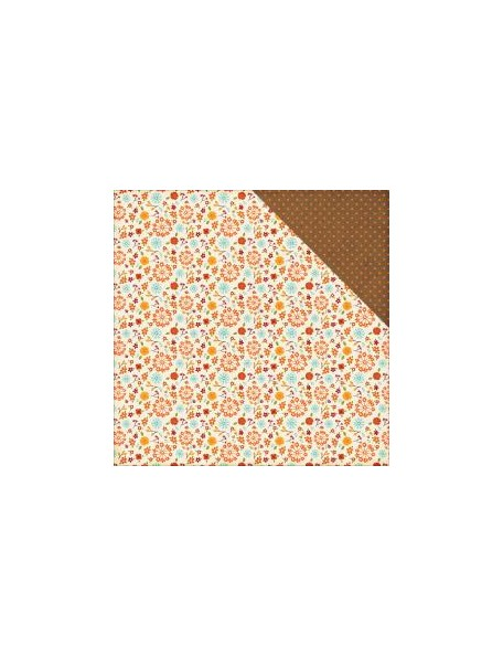 "Echo Park - The Story Of Fall Cardstock de doble cara 12""X12"" , Fall Small Floral"