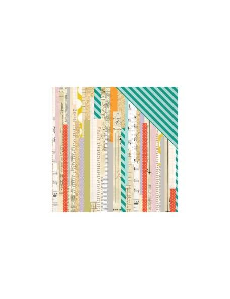 "Pink Paislee - Memorandum Cardstock de doble cara 12""X12"", Time Clock"