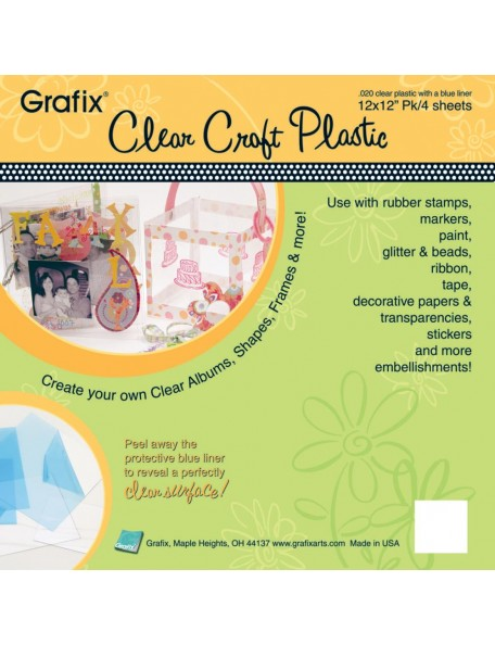 "Craft Plastic Sheets 12""X12"" 4/Pkg Clear .020"