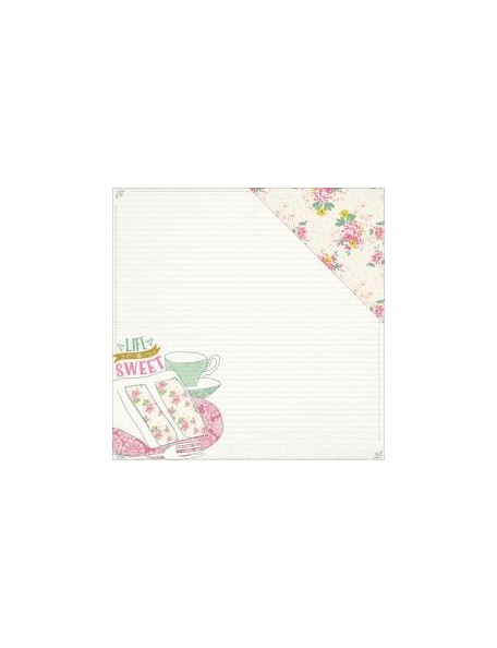 """Authentique - Infused Cardstock de doble cara 12""""X12"""", Sweetened Cake & Tea Cup/Floral With Dot"""
