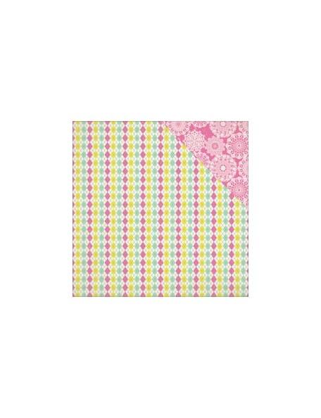 """Authentique - Infused Cardstock de doble cara 12""""X12"""", Fancy Multi Argyle/Lace Doily"""