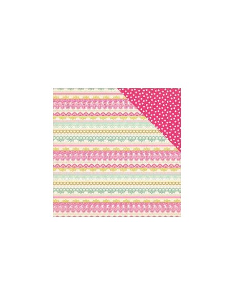 "Authentique - Infused Cardstock de doble cara 12""X12"", Deluxe Lace Border Stripe/Sprinkle Dots"