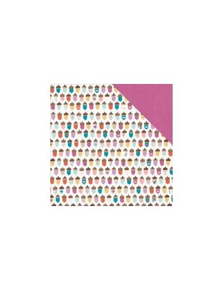 """Pink Paislee Cedar Lane Cardstock de doble cara 12""""X12"""", Acorn Avenue"""