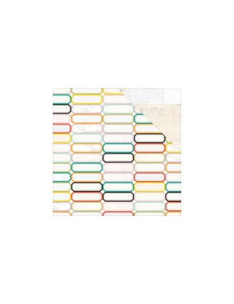 """Pink Paislee - Memorandum Cardstock de doble cara 12""""X12"""", Labels"""