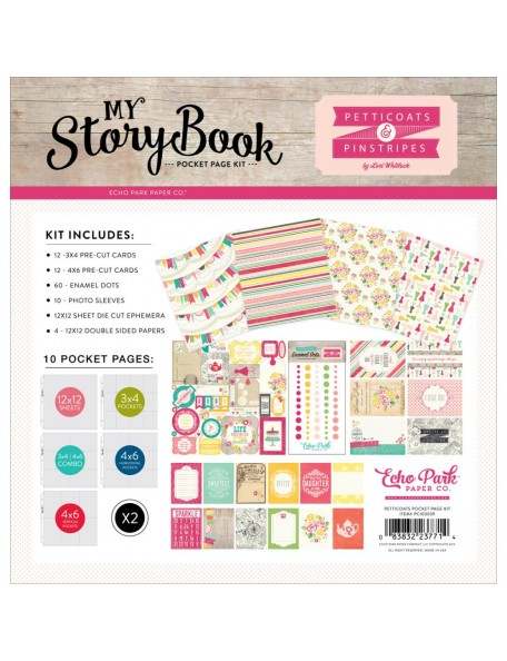 "My Story Book Pocket Page Kit 12""X12"", Petticoats & Pinstripes Girl"