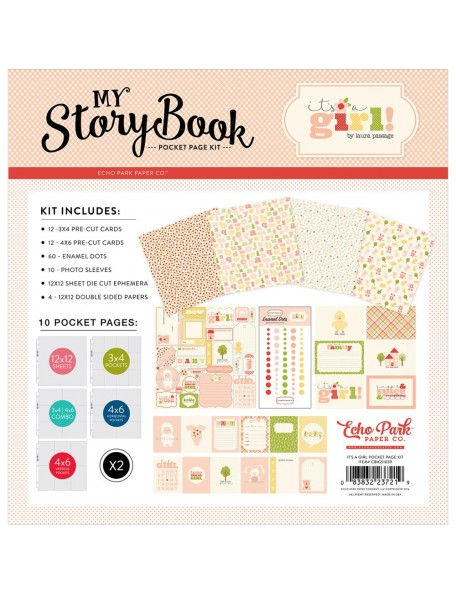 Carta Bella My Story Book Pocket Page Kit, It's a Girl