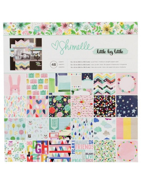 "American Crafts Single-Sided Paper Pad 12""X12"" 48/Pkg Shimelle Little By Little"