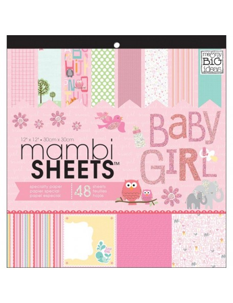 "MAMBI Specialty Cardstock Pad 12""X12"" 48, Baby Girl Animals"