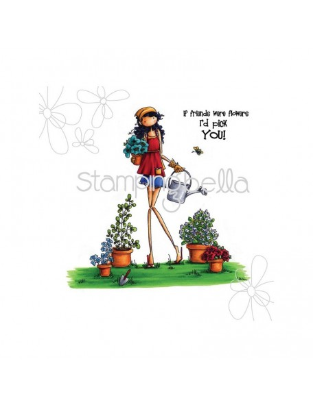 """Stamping Bella Cling Stamp 6.5""""X4.5"""", Uptown Girl Pippa Loves To Plant  DESCATALOGADO"""