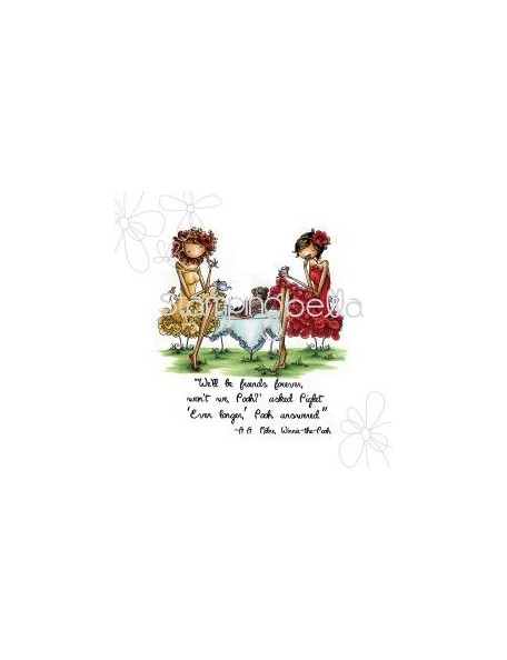 "Stamping Bella Cling Stamp 6.5""X4.5"", Uptown Girls Paige & Peggy Pour Some Tea -Descatalogado-"