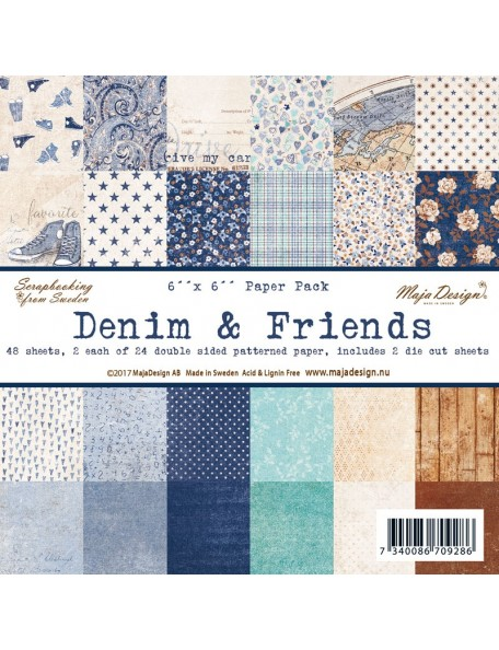 "Maja Design - Denim and Friends Paper Stack de doble cara 6""X6"""