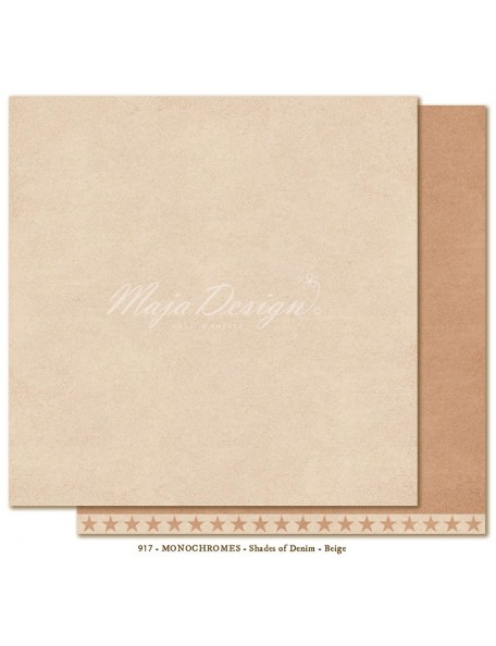 "Maja Design - Monochromes, Shades of Denim Cardstock de doble cara 12""X12"", Beige"