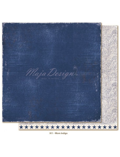 "Maja Design Denim and Friends Cardstock de doble cara 12""X12"", Worn Indigo"