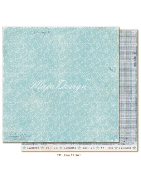 "Maja Design - Denim and Friends Cardstock de doble cara 12""X12"", Jeans & T-Shirt"