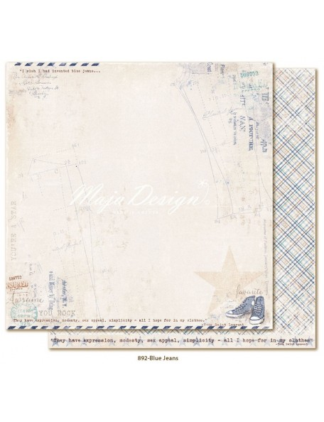 "Maja Design Denim and Friends Cardstock de doble cara 12""X12"", Blue Jeans"