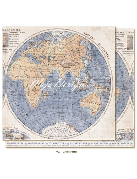"Maja Design Denim and Friends Cardstock de doble cara 12""X12"", Globetrotter"