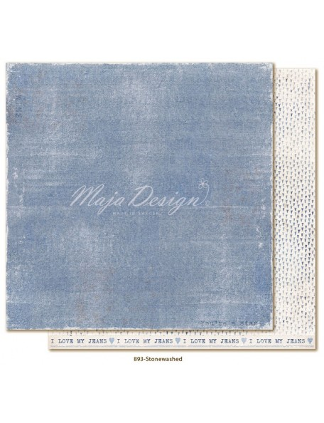 "Maja Design Denim and Friends Cardstock de doble cara 12""x12"", Stonewashed"