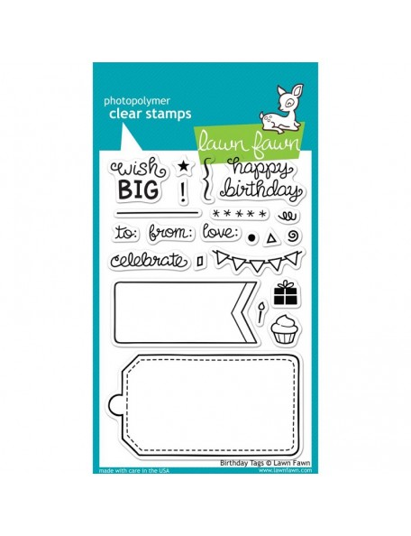 "Lawn Fawn Birthday Tags Clear Stamps 4""X6"""