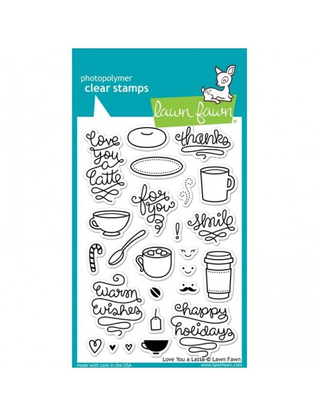 """Lawn Fawn Love You A Latte Clear Stamps 4""""X6"""""""