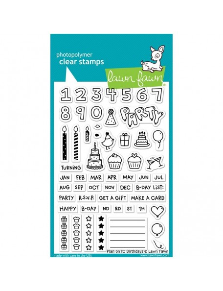 """Lawn Fawn Clear Stamps 4""""X6""""-Plan On It: Birthday"""
