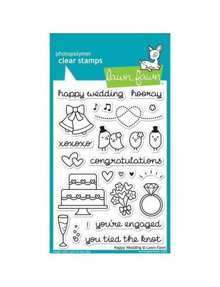 """Lawn Fawn Happy Wedding Clear Stamps 4""""X6"""""""