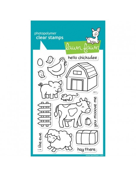 """Lawn Lawn Clear Stamps 4""""X6"""" Critters On The Farm"""