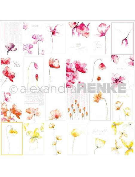 Alexandra Renke Cardstock de una cara 30,5x30,5 cm, Tarjetas Flores/Kärtchenbogen Blumen