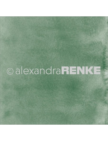 "Alexandra Renke Mimi's Basic Design Paper 12""X12"" , Dark Green Watercolor"