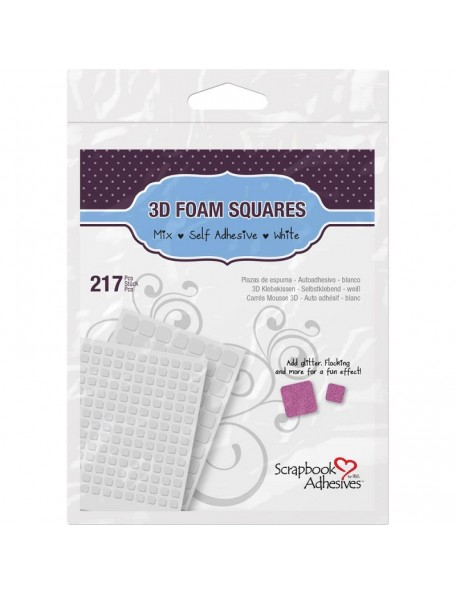"Scrapbook Adhesives 3D Foam Blanco (63) .5""X.5"", (154) .25""X.25"""