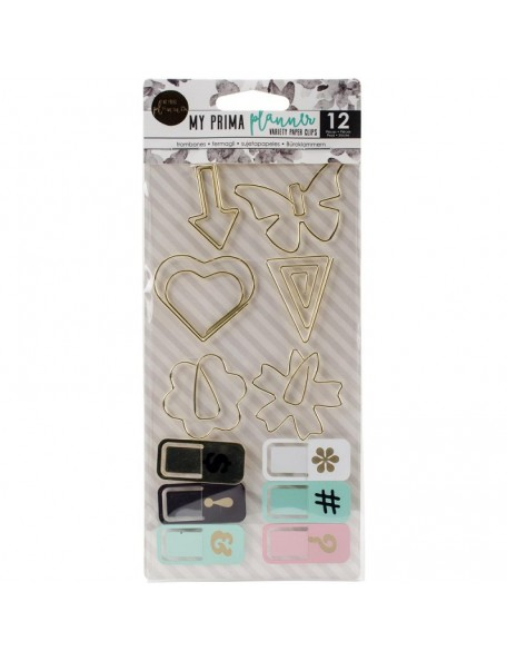 My Prima Planner Variety Clips 12 6 Shaped Gold Wire & 6 Painted