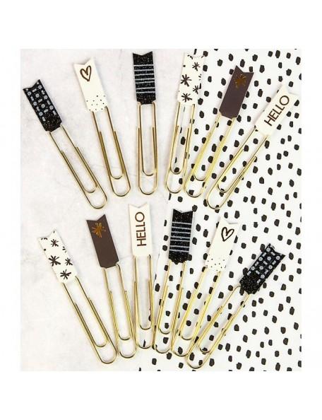 Prima Marketing Planner Banner Paper Clips 12 Brown, Black & White W/Glitter & Foil