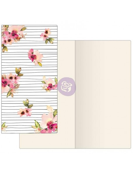 Prima Traveler's Journal Notebook Refill 32 Sheets Scribble Lines Floral W/Ivory Paper