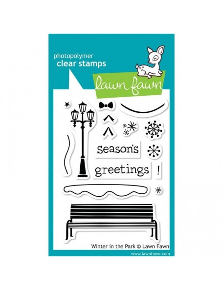 """Lawn Fawn Clear Stamps 3""""X4"""" Winter In The Park"""
