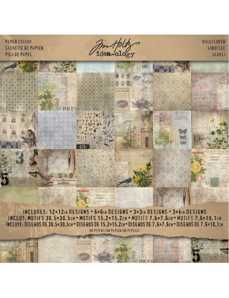 "Tim Holtz Wallflower Advantus Corporation Paper Stash 12""x12"""
