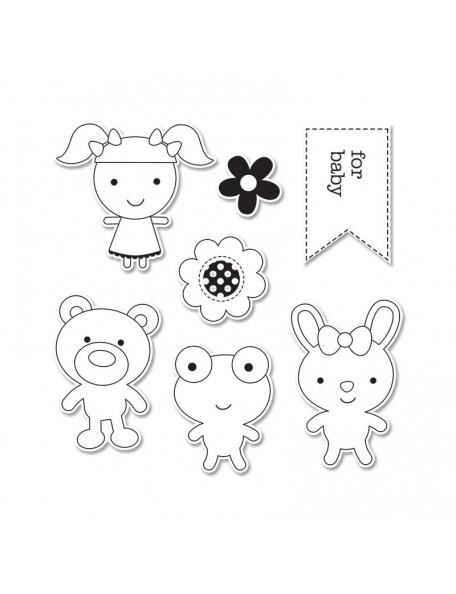 Sizzix Doodlebug Hampton Art 7 sellos y 7 troqueles Baby Girl