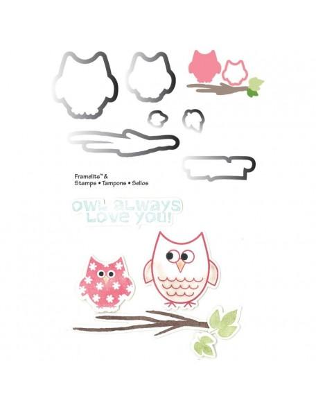 Sizzix Framelits set de troquel con sellos, búho en otoño/Autumn Owls