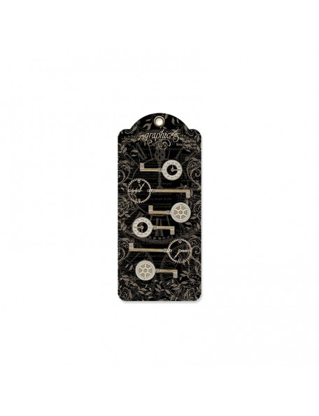 Graphic 45 - Clock Keys Staples Metal
