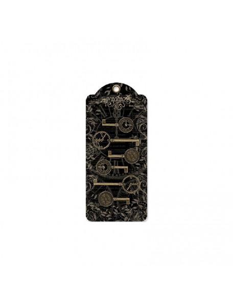 "Staples Metal Clock Keys 6 Antique Brass 2""X1"" To 3""X1.125"""