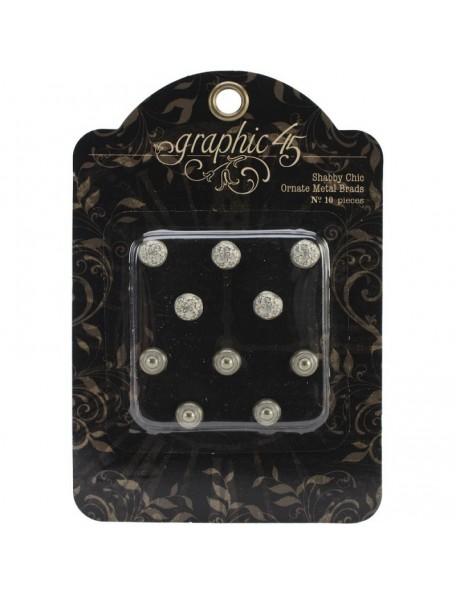 Graphic 45 - Shabby Chic Ornate Metal Brads 10mm 10 pcs