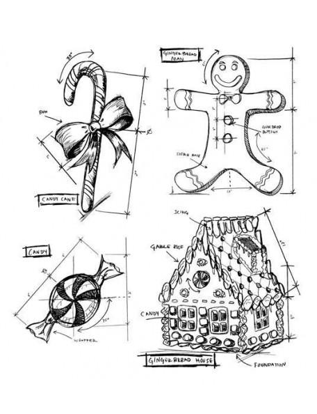 "Stampers Anonymous Tim Holtz Sello de Caucho 7""X8.5"", Christmas Blueprint 3"