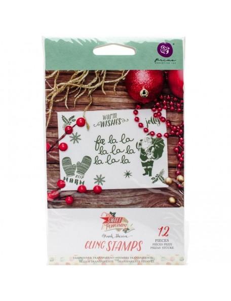 "Sweet Peppermint Cling Rubber Stamps 4""X6"", Fa La La"